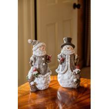 Fancy Snow Couple w/ Birds- Set of 2