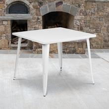 """See Details - Commercial Grade 35.5"""" Square White Metal Indoor-Outdoor Table"""