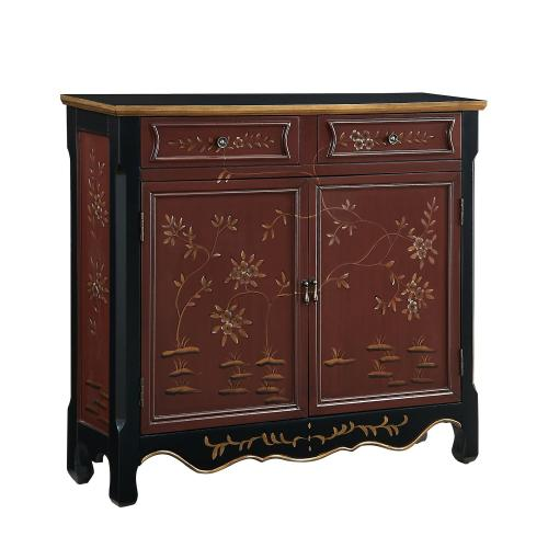 2-drawer and 2-door With Shelves Inside Console, Red Oriental
