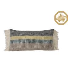 "66826600FR - YAMBIO Striped Pillow Wh+Blk+Brn+Blu+Yel, Poly Fill, 23""x12"""