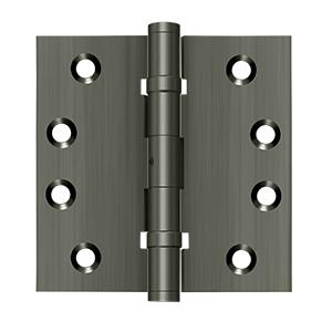 """4"""" x 4"""" Square Hinges, Ball Bearings - Antique Nickel"""