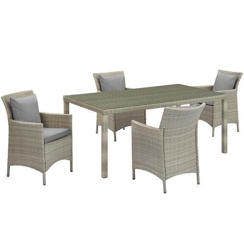 Conduit 5 Piece Outdoor Patio Wicker Rattan Dining Set in Light Gray Gray