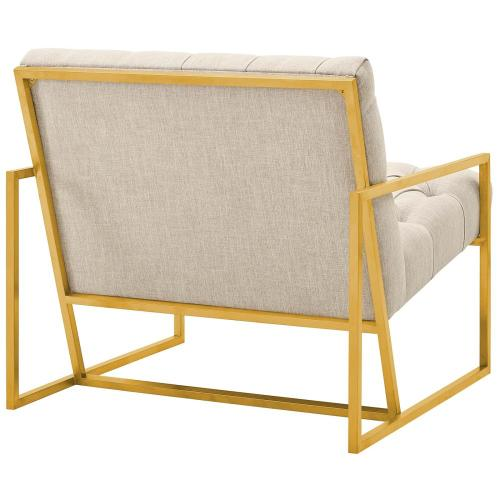 Modway - Bequest Gold Stainless Steel Upholstered Fabric Accent Chair in Beige