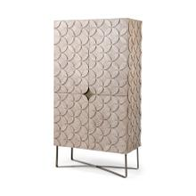 "See Details - Excelsior II 68.1"" H Light Brown Wood Gold Iron Base Storage Cabinet"