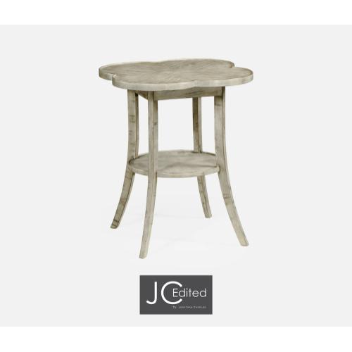 Quatrefoil Lamp Table in Rustic Grey