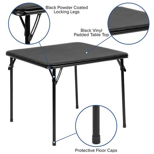 Flash Furniture - Kids Black 5 Piece Folding Table and Chair Set