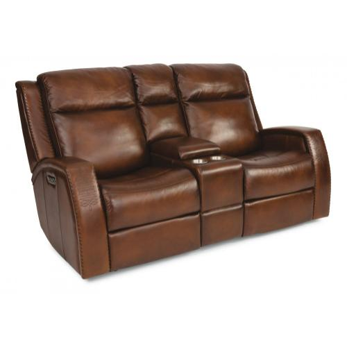 Flexsteel - Mustang Leather Power Reclining Loveseat with Console & Power Headrests