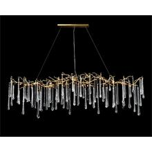 Glass Teardrop Fourteen-Light Horizontal Chandelier