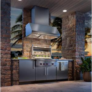 """48"""" SS Pro-Style Range Hood with Extra Large Capture Designed for Outdoor Cooking in Covered Lanais, 1300 to 1650 Max CFM"""