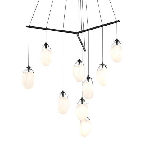 Sonneman - A Way of Light - Liquid LED Pendant [Size=9-Light Standard, Color/Finish=Satin Black w/Poured White Glass, Shape=Tri-Spreader]