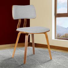 Armen Living Jaguar Mid-Century Dining Chair in Walnut Wood and Gray Fabric