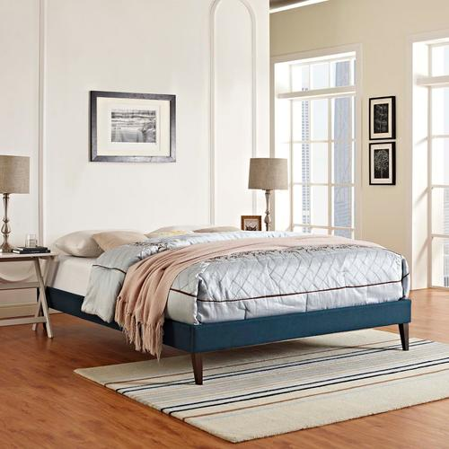Modway - Tessie Queen Fabric Bed Frame with Squared Tapered Legs in Azure