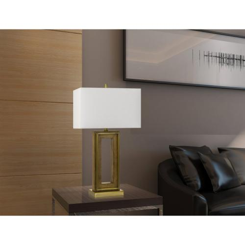 150W 3 Way Couvin Pine Wood/Metal Table Lamp