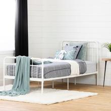Metal Platform Bed with Headboard and Footboard - Pure White