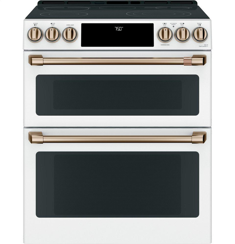 "Cafe Appliances30"" Smart Slide-In, Front-Control, Radiant And Convection Double-Oven Range"