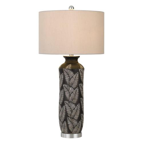 150W 3 Way Shiloh Ceramic Table Lamp With Leaf Design And Drum Hardback Fabric Shade