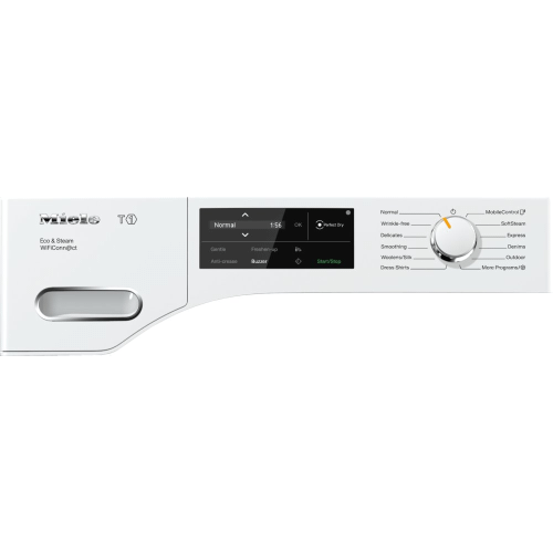 Miele - TWI 180 WP Eco & Steam WiFiConn@ct - T1 Heat-pump tumble dryer with Miele@home and SteamFinish for smart laundry care.