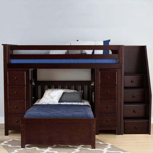 Jackpot Kids Furniture - All in One Staircase Loft Bed Storage Storage   Twin Bed Espresso