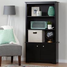Vito - 3-Shelf Bookcase with Doors, Pure Black