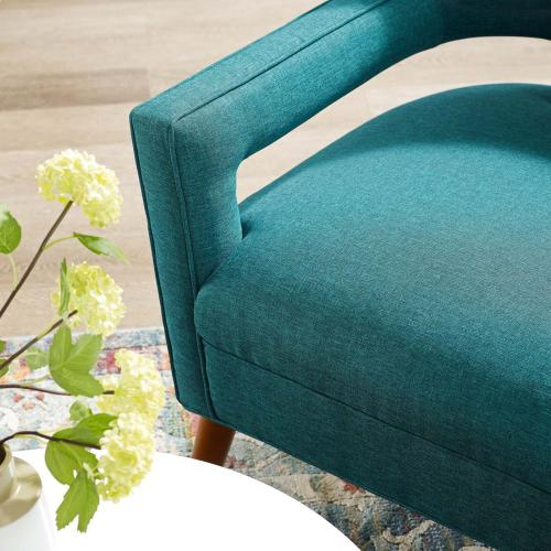 Sheer Upholstered Fabric Armchair in Teal