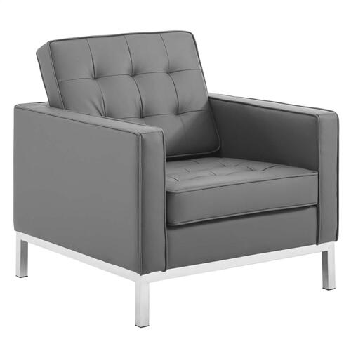 Loft Tufted Upholstered Faux Leather Armchair in Silver Gray