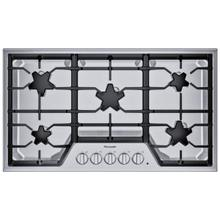 SGS365TS ® offers an impressive 36-inch gas cooktop with 5 patented Star® burners, including a center-mounted power burner, and 58,200 BTUs of overall heat output. 36-Inch Masterpiece® Star® Burner Gas Cooktop