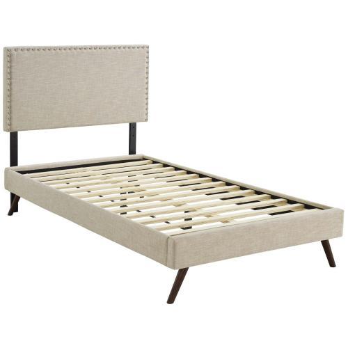 Macie Twin Fabric Platform Bed with Round Splayed Legs in Beige