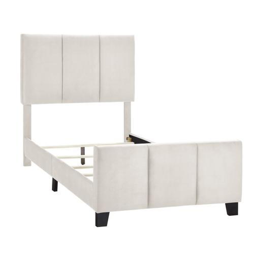 Accentrics Home - Twin Modern Channel Bed in Ivory