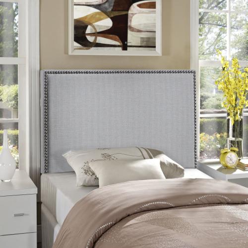 Region Nailhead Twin Upholstered Headboard in Sky Gray