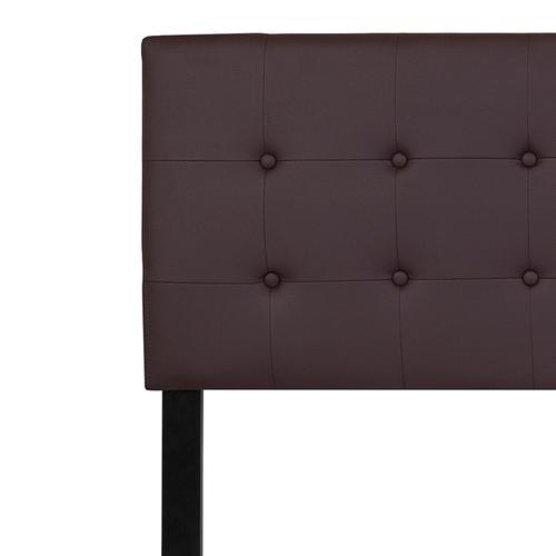 Lennox Tufted Upholstered King Size Headboard in Brown Vinyl