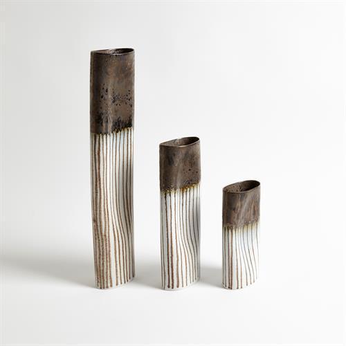 Reactive Bronze Stripe Oval Vase-Med