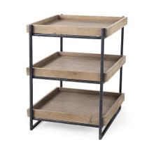 """See Details - Trey III 20"""" x 26"""" Square Medium Brown Wooden Three-Tiered Black Iron Frame End/Side Table"""
