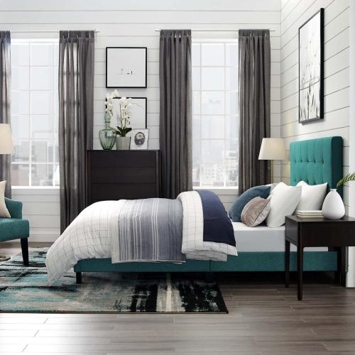Melanie Full Tufted Button Upholstered Fabric Platform Bed in Teal