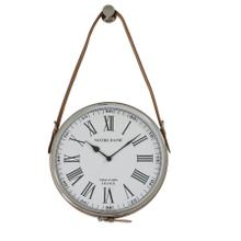 6269782 - Clock 30 cm NOTRE DAME nickel leather brown