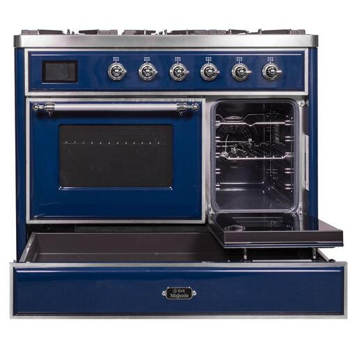 Product Image - Majestic II 40 Inch Dual Fuel Natural Gas Freestanding Range in Blue with Chrome Trim