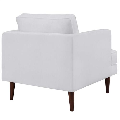 Agile Upholstered Fabric Armchair in White