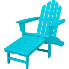 Hanover All-Weather Contoured Adirondack Chair with Hideaway Ottoman- Aruba, HVLNA15AR