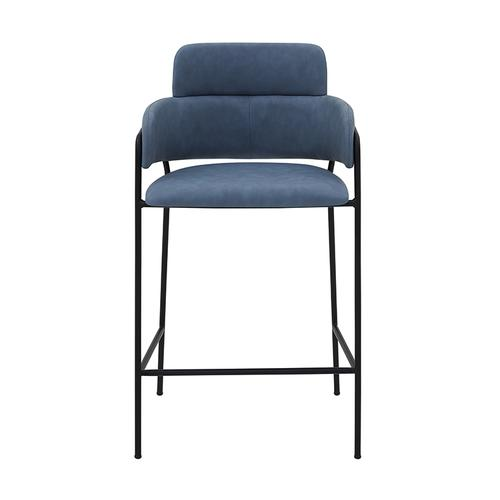 "Oshen 26"" Modern Counter Height Bar Stool with Black Metal Finish and Blue Faux Leather"