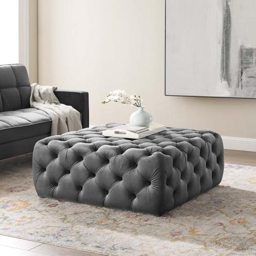 Amour Tufted Button Large Square Performance Velvet Ottoman in Gray