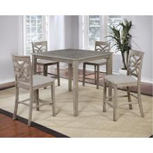"GL-3439  5 Piece 42"" Square Pub Table Set  Four Upholstered Stools"