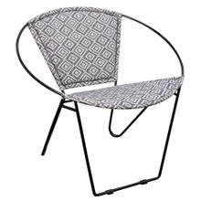 BLACK IRON HOOP CHAIR  29in w X 30in ht X 28in d  Hoop Chair with Square Grey and White Jakarta Fa