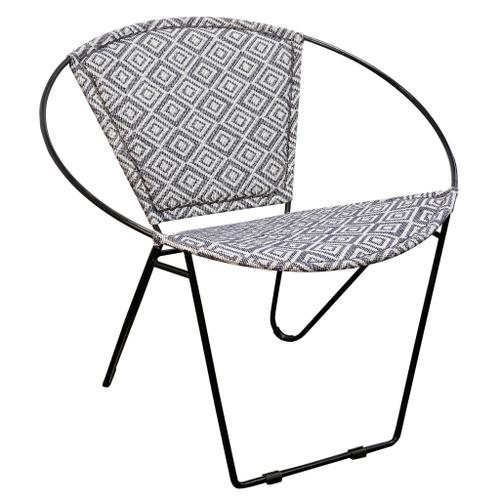Style Craft - BLACK IRON HOOP CHAIR  29in w X 30in ht X 28in d  Hoop Chair with Square Grey and White Jakarta Fa