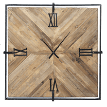 Square Reclaimed Wood Inlay Wall Clock (Each One Will Vary)