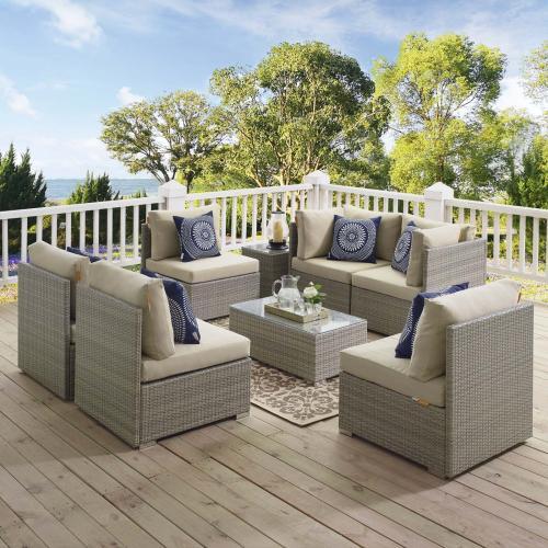 Repose 7 Piece Outdoor Patio Sunbrella® Sectional Set in Light Gray Beige