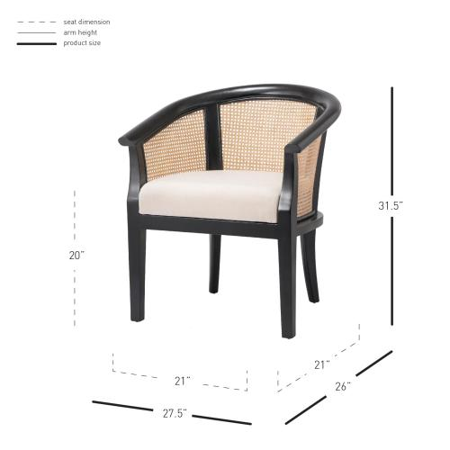Product Image - Sabine Rattan Dining Side Chair, Black/ Natural