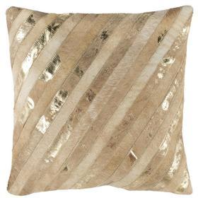 Latta Metallic Cowhide Pillow - Beige / Gold