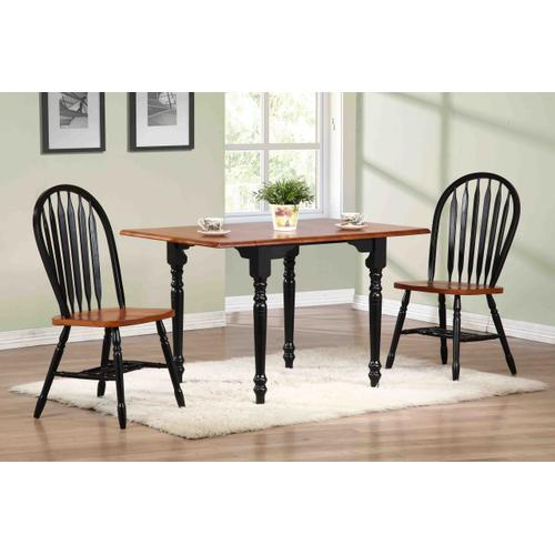 Drop Leaf Dining Table - Antique Black with Cherry Finish