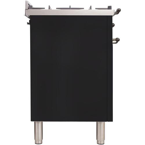 Nostalgie 40 Inch Dual Fuel Natural Gas Freestanding Range in Glossy Black with Bronze Trim