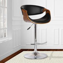 View Product - Armen Living Butterfly Adjustable Swivel Barstool in Black Faux Leather with Chrome Finish and Walnut Wood