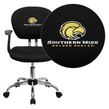 Southern Mississippi Golden Eagles Embroidered Black Mesh Task Chair with Arms and Chrome Base